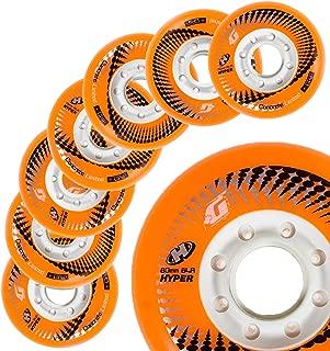 Hyper Wheels Concrete +G - 8 Wheels - 84A - N1 Inline Skate Wheels in The World - 72MM, 76MM, 80MM Sizes - for Fitness, Freeride, Slalom, Urban