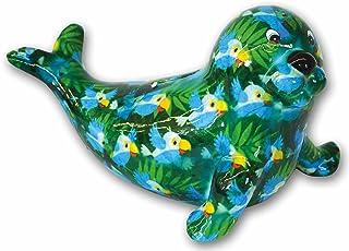 Pomme Pidou Skarbonka morska Robby z papugami kolorowe motywy zwierzęce z ceramiki (zielona)