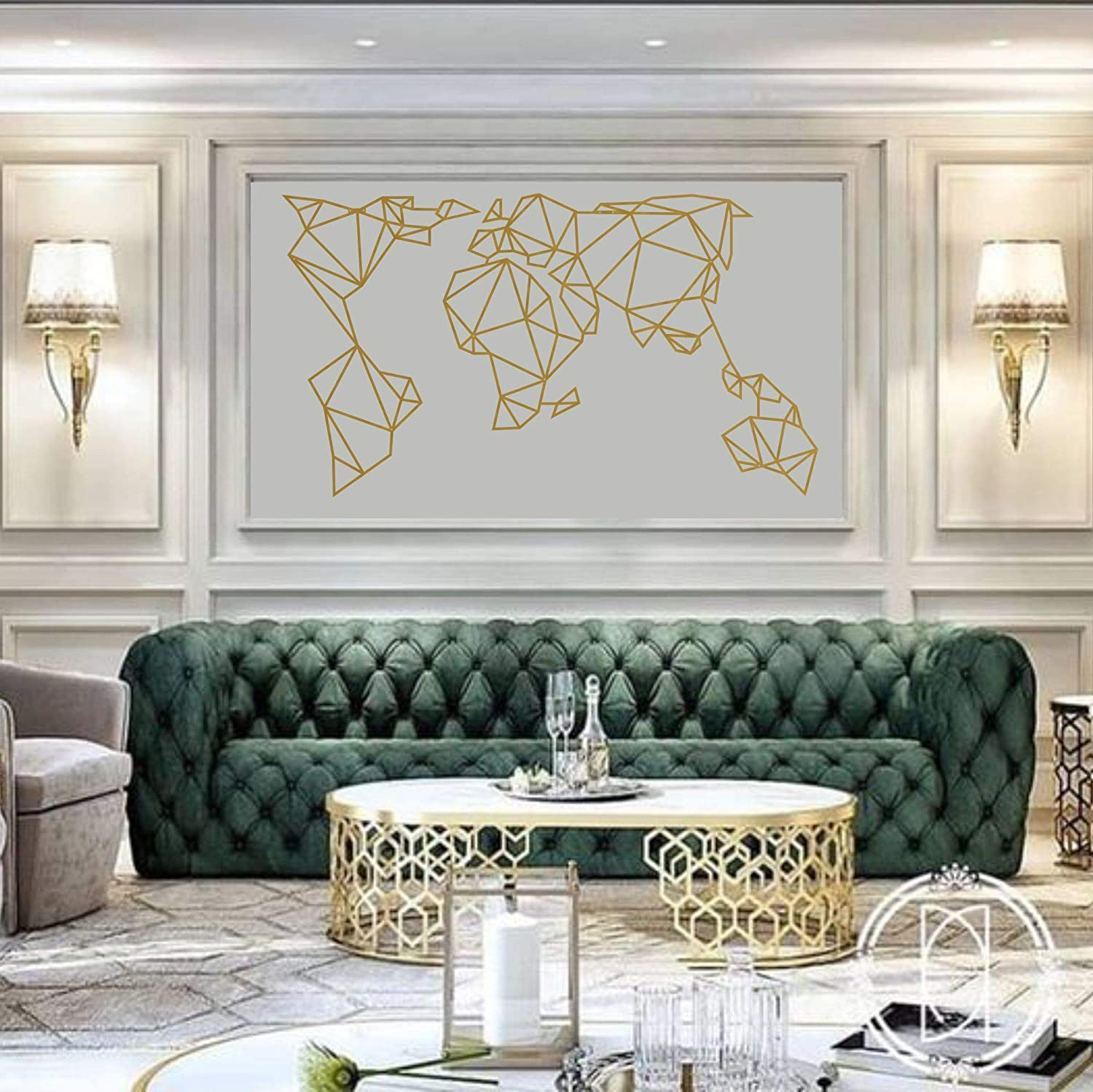 Metal Wall Art Beauty products Gold Geometric A surprise price is realized World Map Decor