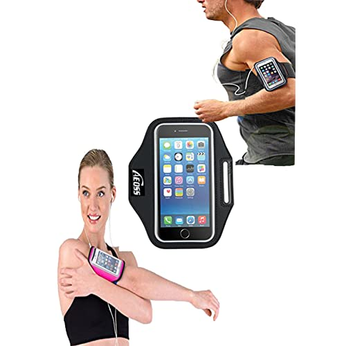 """Aeoss Sports Running Jogging Gym Armband Case Cover Holder Till 5.5″ to 6.12"""" inch Compatible Poco f1 (Black)"""