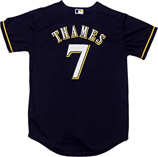 Eric Thames Milwaukee Brewers Navy Blue Youth Cool Base Alternate Replica Jersey
