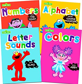 Sesame Street Workbooks Preschool (Set of 4 Workbooks -- Alphabet with Elmo, Letter Sounds, Numbers and Colors)
