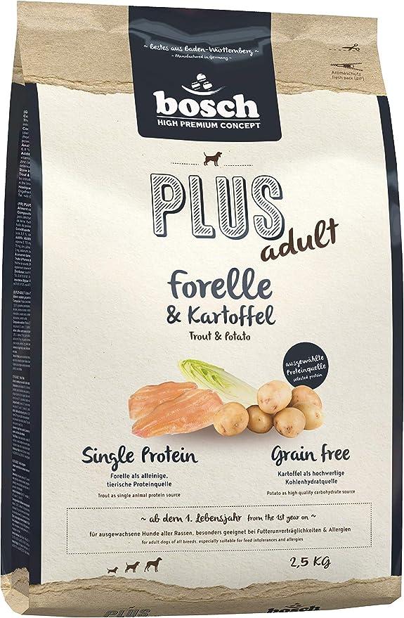 bosch HPC PLUS adult | Trucha y Patata | Comida seca para perros adultos de todas las razas | Sin cereales | 2,5 kg