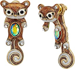 Betsey Johnson - Brown and Gold Squirrel Front Back Earrings