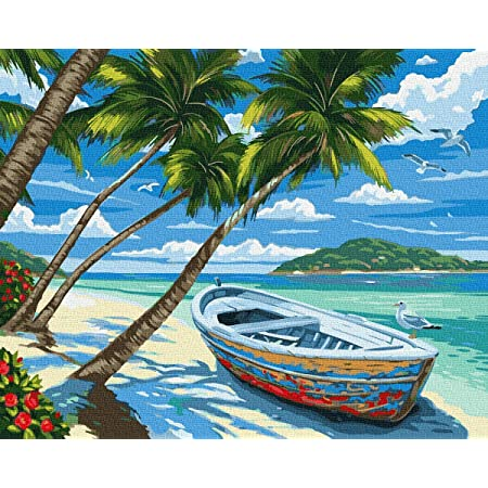 Amazon Com Kose Paint By Numbers For Adults Beginner Kids Diy Oil Painting Kit On Canvas With Paintbrushes And Acrylic Pigment Arts Craft For Home Wall Decor 16 W X 20 L Beach Hawaii