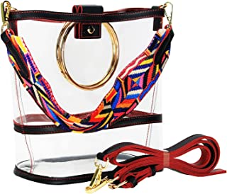 SharPlus Clear PVC Crossbody Shoulder Purse Bag - Sporting Events Stadium Approved Transparent Plastic Tote Bucket Handbag with Colorful Strap