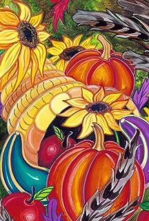 Toland Home Garden Colorful Cornucopia 28 x 40 Inch Decorative Fall Autumn Harvest House Flag