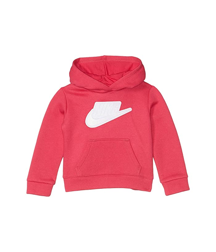 Nike Kids  Sueded Fleece Iridescent Logo Pullover Hoodie (Toddler) (Rush Pink) Girls Clothing