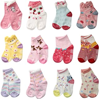 LAISOR 12 Pairs Assorted Non-Skid Ankle Cotton Socks with Grip for Kids Toddlers Baby Girls (12-36 Months)
