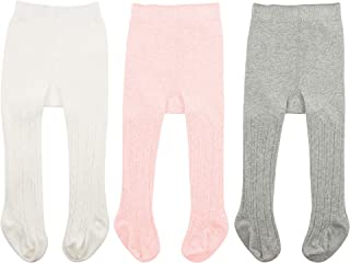 Zando Baby Tights Soft Seamless Cable Knit Infant Tights for Baby Girls Leggings Stockings Toddler Warm Socks Newborn Winter Clothes Ivory White & Ballet Pink & Light Grey X-Large/2-4 Year