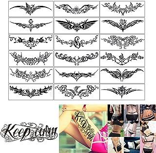 ELANE 19 Sheets Temporary Tattoo Stickers Set,Including 18PCS Body Art Makeup Fake Tattoo ,1PCS Calm Down Tattoo Stickers ...