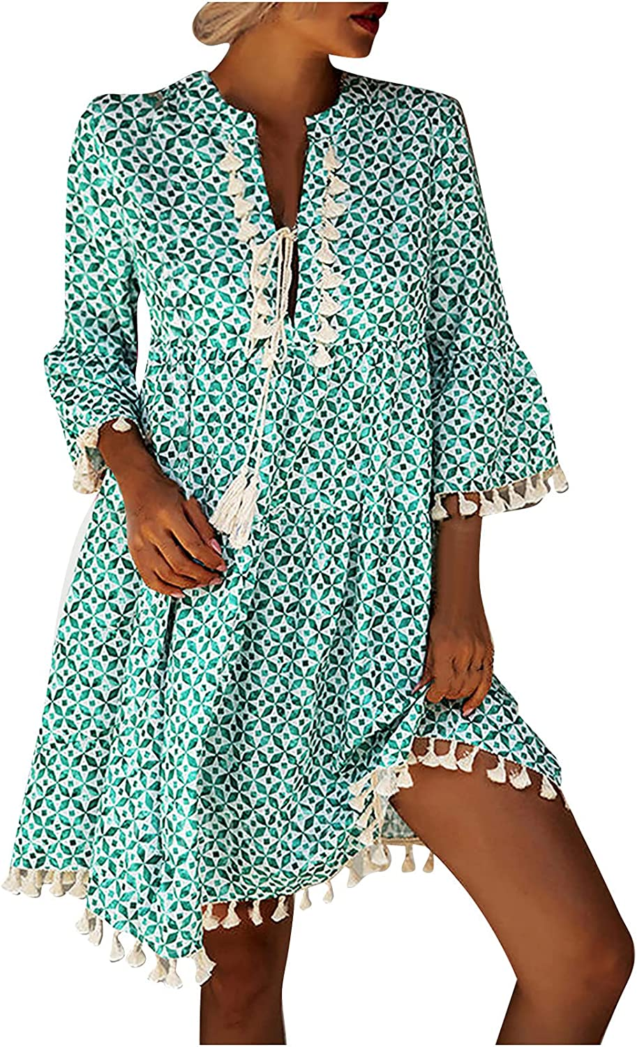 Howley New mail order Women's Summer Our shop most popular Dresses Casual Sleeve Swing Tassel D Short