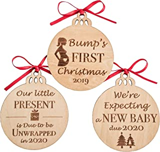 MaxDigital Pregnancy Gifts - Wooden Decor Christmas Ornaments | Expectant Mom, Pregnant Mom Gifts | Gender Reveal, Pregnancy Announcement Keepsake, Set of 3