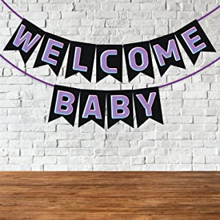 Wobbox Baby Shower Bunting Banner Voilet & Black Colour Welcome Baby, Welcome Banner for Decoration, Baby Shower Banner fo...