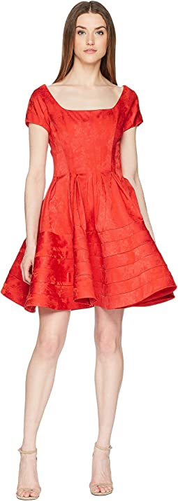 Zac Posen Party Jacquard Scoop Neck Short Sleeve Fit and Flare Dress