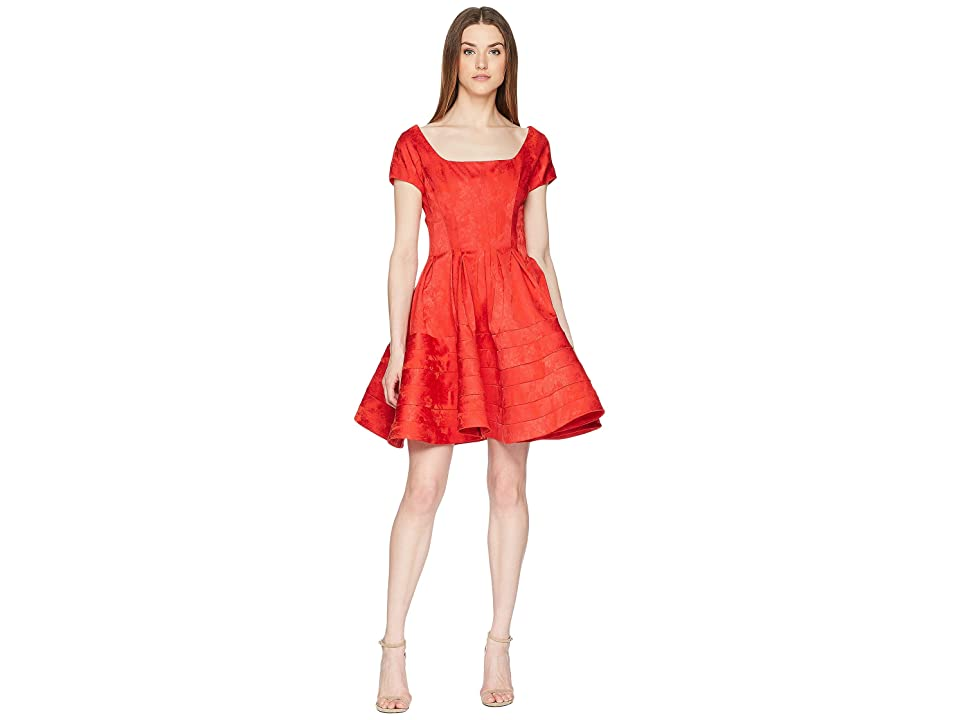 Zac Posen Party Jacquard Scoop Neck Short Sleeve Fit and Flare Dress (Ruby) Women