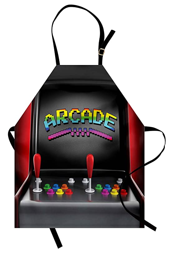 Ambesonne Video Games Apron, Arcade Machine Retro Gaming Fun Joystick Buttons Vintage 80's 90's Electronic, Unisex Kitchen Bib Apron with Adjustable Neck for Cooking Baking Gardening, Charcoal Red