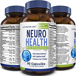 Mind Enhancement Supplement Natural Nootropic Pills for Men and Women Boost Focus Clarity Improve Memory Reduce Forgetfulness Anti Aging Cognitive Enhancement 90 Capsules by Huntington Labs