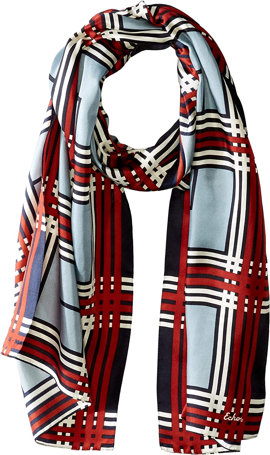Echo Design Womens Holiday Plaid Silk Scarf