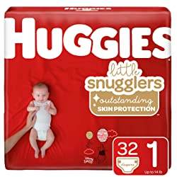 Huggies Little Snugglers Baby Diapers, Size 1 (up to 14 lb.), 32 Count