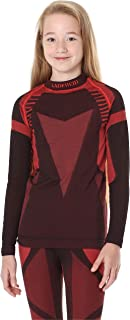 Ladeheid Camiseta Térmica Mangas Largas Ropa Interior Unisexo Niños LASS0007 (Negro/Rojo, 146-152)