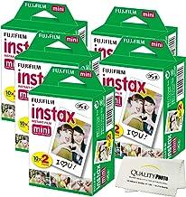 Fujifilm INSTAX Mini Instant Film (White) For Fujifilm Mini 8 & Mini 9 Cameras w/ Microfiber Cloth by Quality Photo (100 Film Sheets)