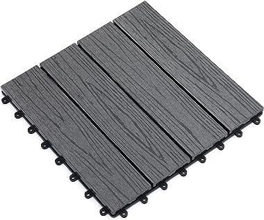 "12""x 12"" Wood-Plastic Composite Quick Interlocking Flooring & Patio Deck 11PCS (Color : Grey)"