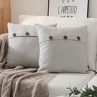 Phantoscope Set of 2 Triple Button Cotton Blend Throw Pillow Case Cushion Cover Light Grey 18 x 18 inches 45 x 45 cm