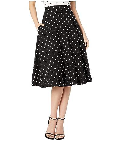 Unique Vintage Retro Style Black White Polka Dot High-Waisted Vivien Swing Skirt (Black/White Dot) Women