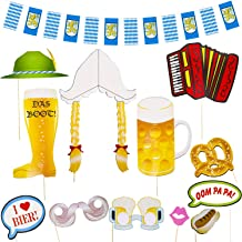 Oktoberfest Party Photo Booth Kit - Pre-Assembled Props and Bavarian Flag Background Banner Selfie Station Supplies