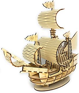 SKOTTY'S 3D Wooden Puzzle Boat Gift for Kids Teens and Adults-DIY Building-Model-Hobby Pirate Ship KIt-Larger Size for Display-STEM Toys. Educational Brain Teaser