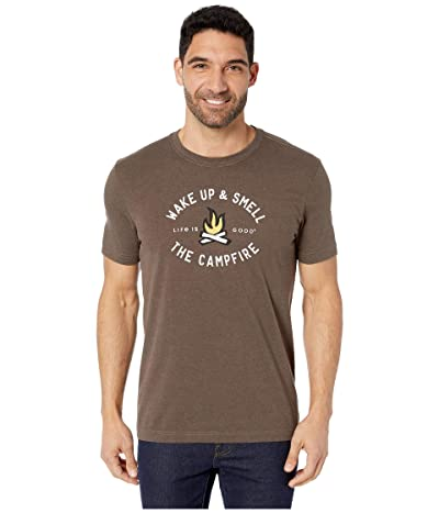Life is Good Smell the Campfire Crusher Tee (Heather Rich Brown) Men