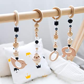 Promise Babe 4pcs Wooden Ring Baby teether Activity Nursing Play Gym Silicone Beads Animal Pendant Rattles Baby Toys Organic Non-Toxic Environmental Protection Sensory Toys Gift(White)