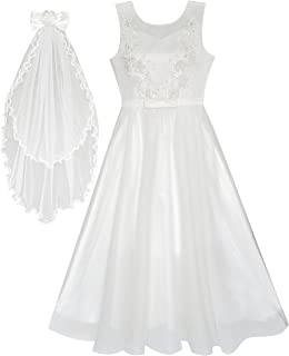 Sunny Fashion Flower Girls Dress Off White Wedding Veil First Communion Size 6-12 Years