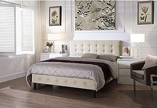 Rosevera B2K-1 Hanke Upholstered Linen Platform Bed, King, Ivory