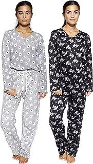 4 Piece : Womens Pajama Sets - Fleece Pajamas for Women - Pajama Pants for Women and Vneck Top