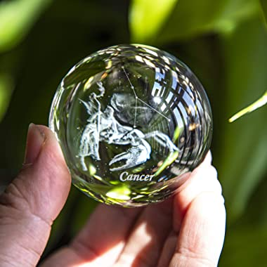 Crystal 3D Constellation Crystal Ball 60mm Crystal Paperweight Full Sphere Glass Fengshui With Sliver-Plated Flowering Stand(