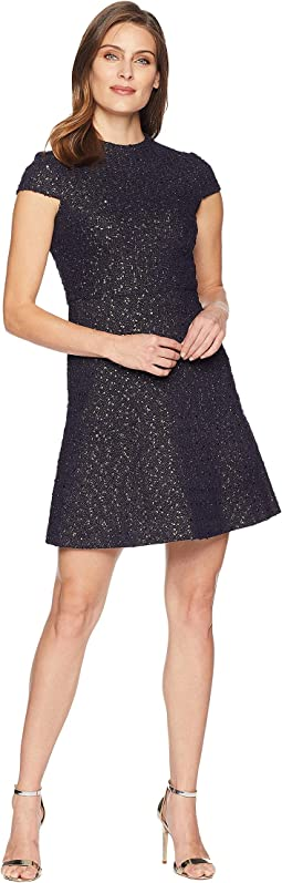 Boucle Cap Sleeve Fit & Flare Dress