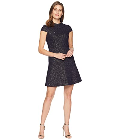 Vince Camuto Boucle Cap Sleeve Fit Flare Dress (Navy) Women