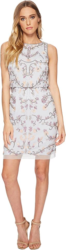 Adrianna Papell - Beaded Halter Shift Cocktail Dress