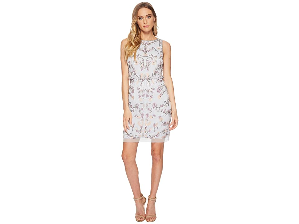 Adrianna Papell Beaded Halter Shift Cocktail Dress (Serenity) Women