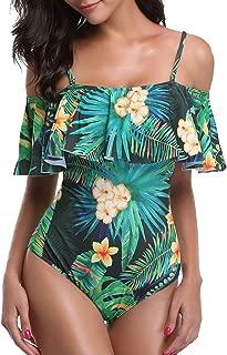Tempt Me Women's One Piece Swimsuit Vintage Off Shoulder Ruffled Bathing Suit