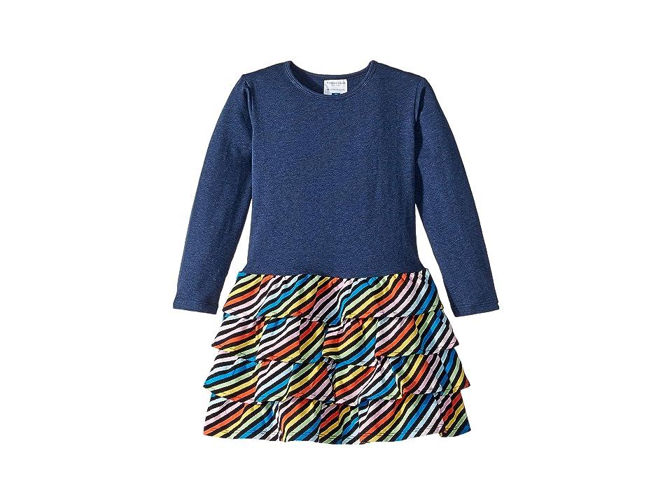 Toobydoo Ruffle Dress (Toddler/Little Kids/Big Kids) (Navy Rainbow Stripe) Girl