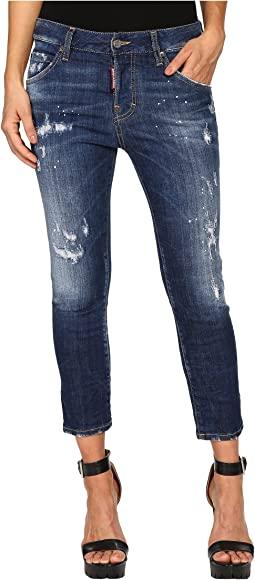 Perfetto Wash Cool Girl Cropped Jeans in Blue