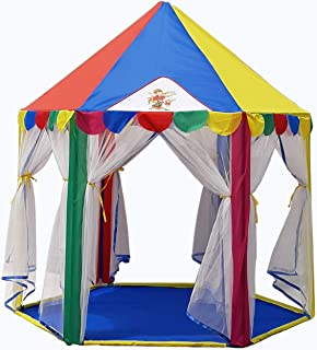 Homecute Hexagonal Hut Type Play Tent House Six Door- Multi Color