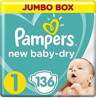 بامبرز جفاف وحيوية، مقاس 1، المولود الجديد، 2-5 كغ، الصندوق الجامبو، 136 حفاض