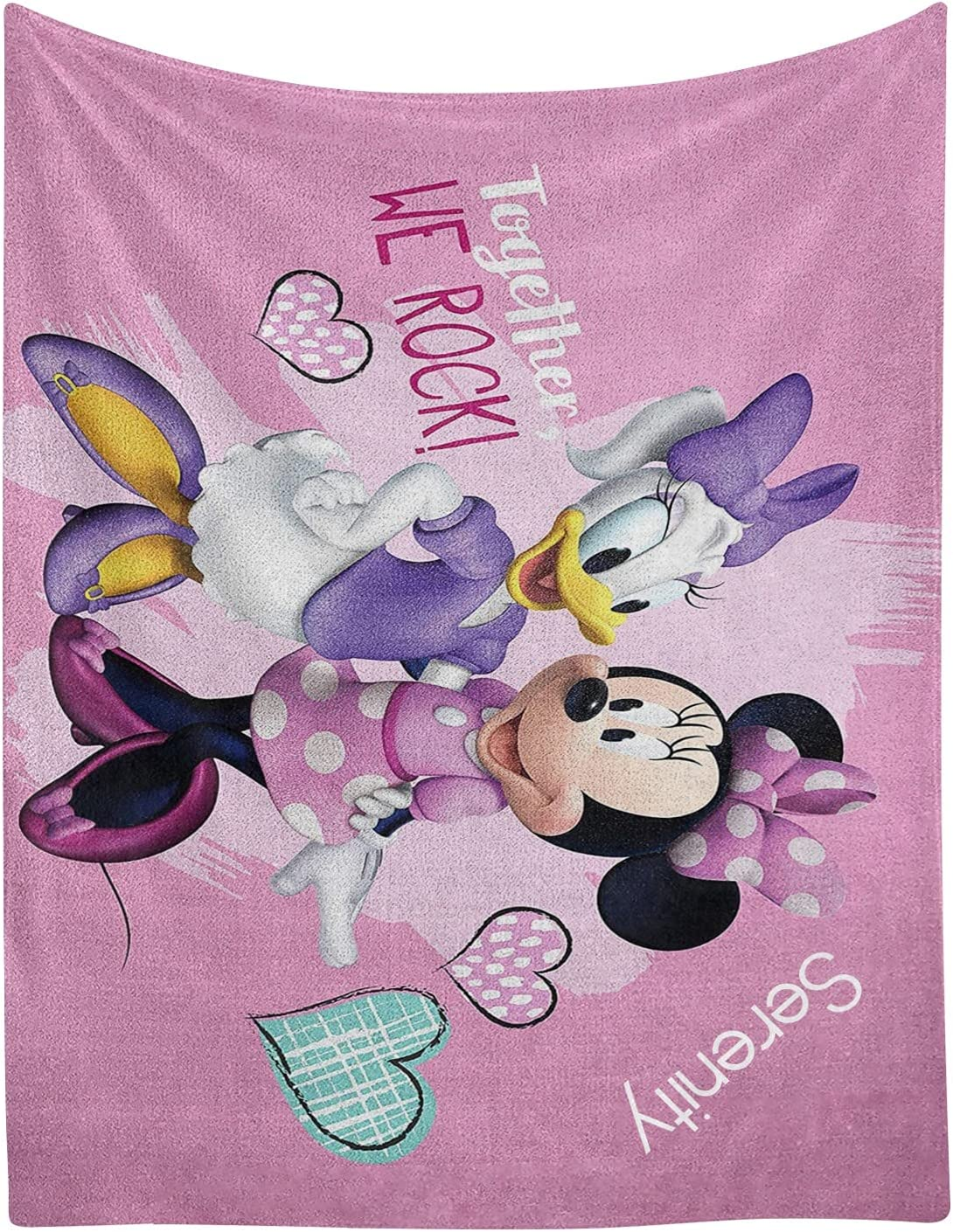 Duck Mouse Heart Personalized Blanket Name Text with Flee Custom Trust