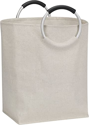 Household Essentials Cotton-Polyester Blend Oval Hamper with Round Aluminum sacue Handles, blanc
