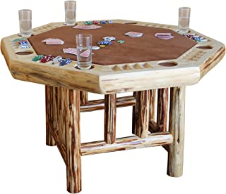 Rush Creek Creations 8 Player Octagon Poker Table - Handcrafted Rustic Log Wood - Plush Padded Velvet