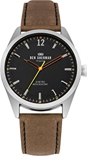 Men's Spitalfields Social Quartz Watch with Leather Calfskin Strap, Brown, 22 (Model: WB019BT